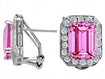 14k White Gold Plated 925 Sterling Silver And Created Emerald Cut Pink Tourmaline Earrings