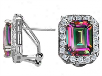 14k White Gold Plated 925 Sterling Silver And Genuine Emerald Cut Mystic Rainbow Topaz Earrings