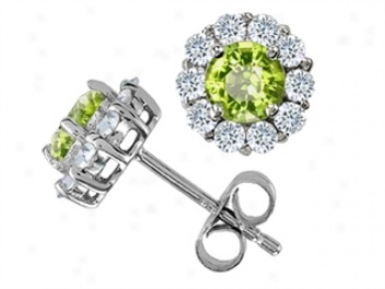 14k White Gold Plated 925 Sterling Silver And Genuine Round Peridot Earrings