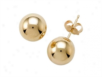 14k Yellow Gold 6mm Globe Earrings