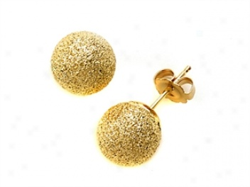 14k Yellow Gold 8mm Laser Cross Ball Earrings
