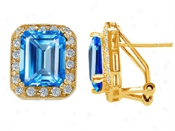 14k Yellow Gold Plated 925 Sterlkng Silver And Genuine Emeald Cut Blue Topaz Earrings