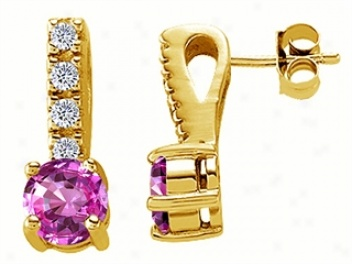 14k Golden Gokd Plated 925 Sterling Silver Lab Created Pink Tourmaline Earrings