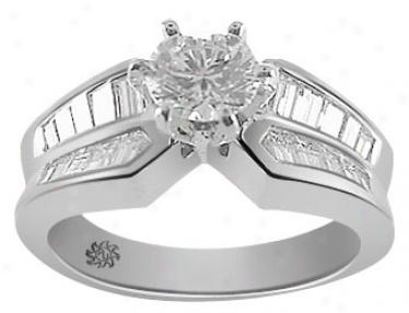 1.61 Carat Odelia Diamond 14kt White Gold Engagement Ring