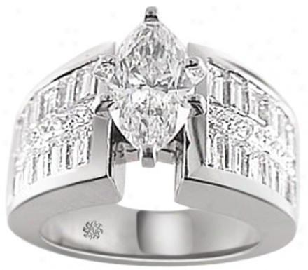 4.65 Carat Adeline Diamond 14kt White Gold Engagement Ring