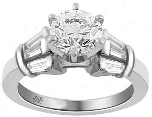 .87 Carat Hanita Diamond 14kt White Gold Engagement Ring