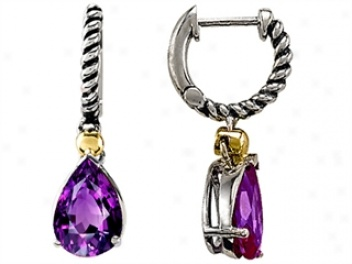 925 Sterlint Silver And 18k Gold  Two Tone Genuine Amethyst Earrings